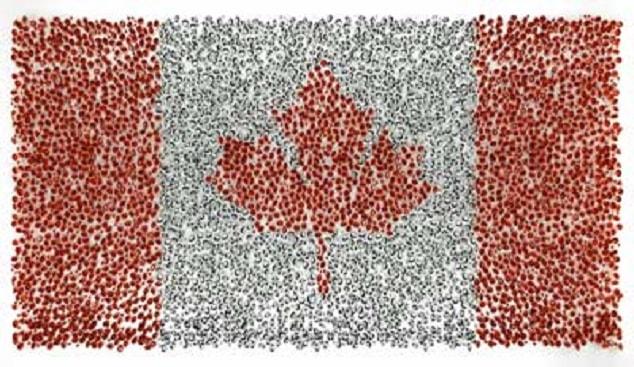 דגל קנדה עשוי יהלומים