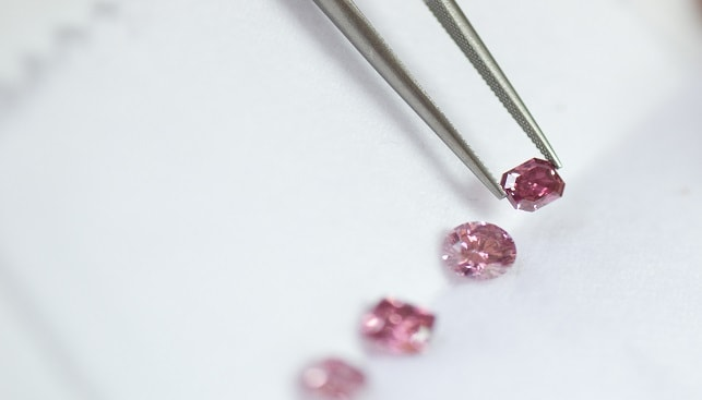 יהלומים ורודים במגוון ליטושים עם מלקטת