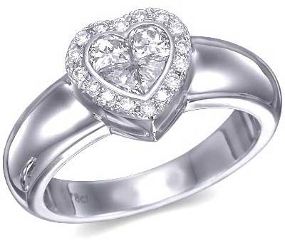 טבעת לב משובצת יהלומים