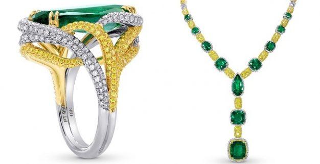 טבעת וענק אמרלד ויהלומים של לייביש