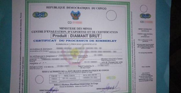 תעודת קימברלי המזויפת שהתגלתה בקונגו