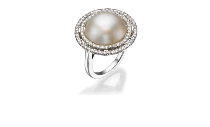 טבעת זהב פנינה ויהלומים