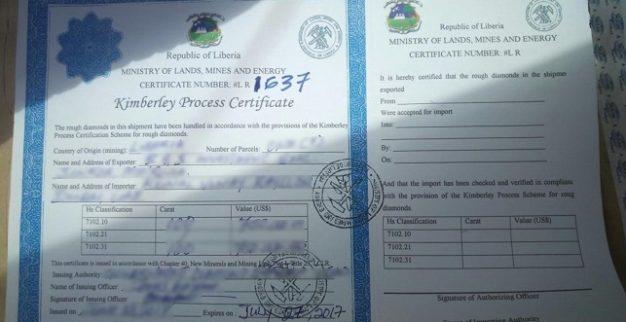 תעודת קימברלי מזויפת מליבריה