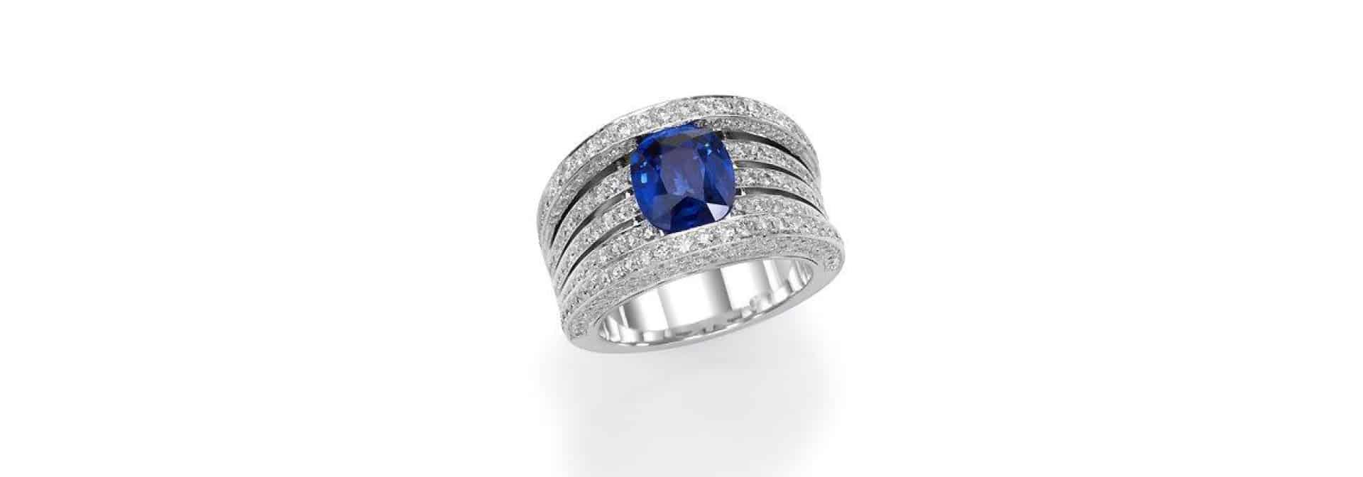 טבעת יהלומים ספיר כחול בונקר תכשיטים