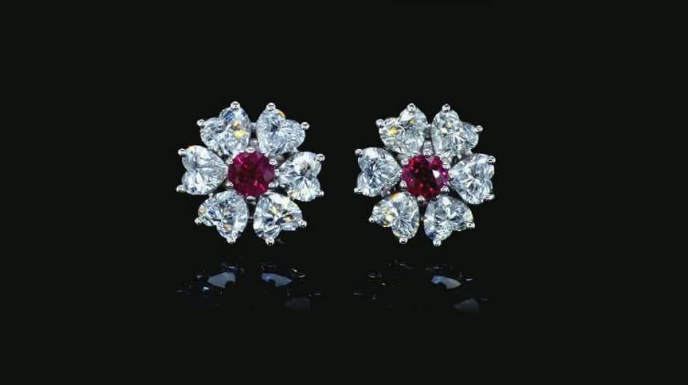 פרח יהלומים ליטוש לב רובי אדום