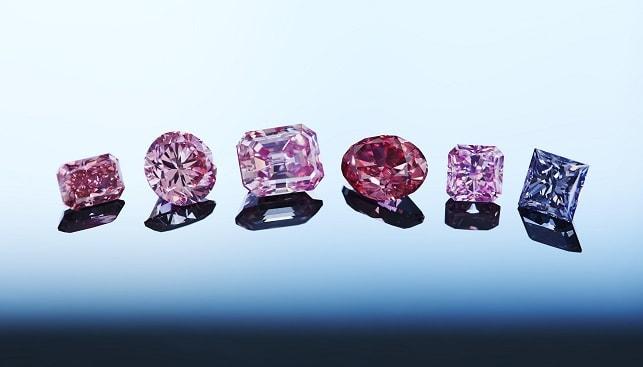 יהלומים צבעוניים אדומים סגולים