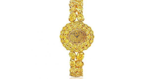 שעון יהלום צהוב