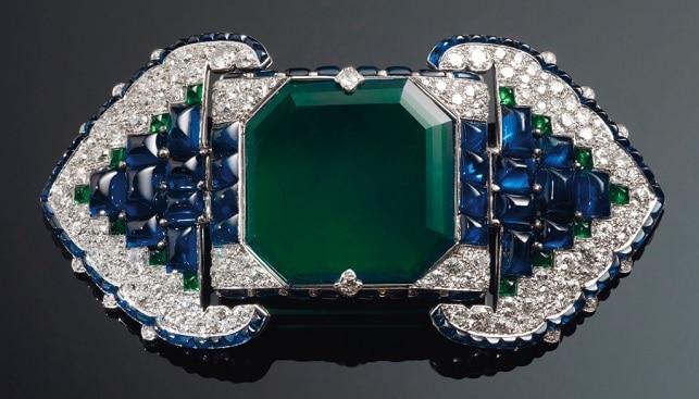 סיכת יהלומים ספיר אמרלד
