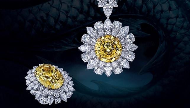 תכשיטי יהלומים צהובים לבנים