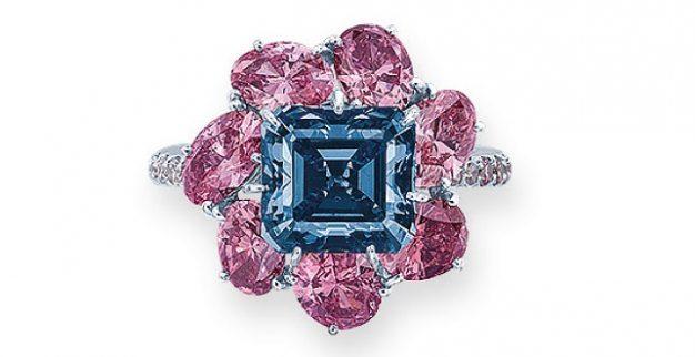 טבעת יהלומים צבעוניים מושיוף