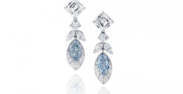 עגילי יהלומים כחולים בונהמס