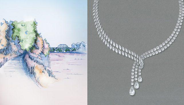 תליון יהלומים של דה בירס במוטיב הנוף של לונדון