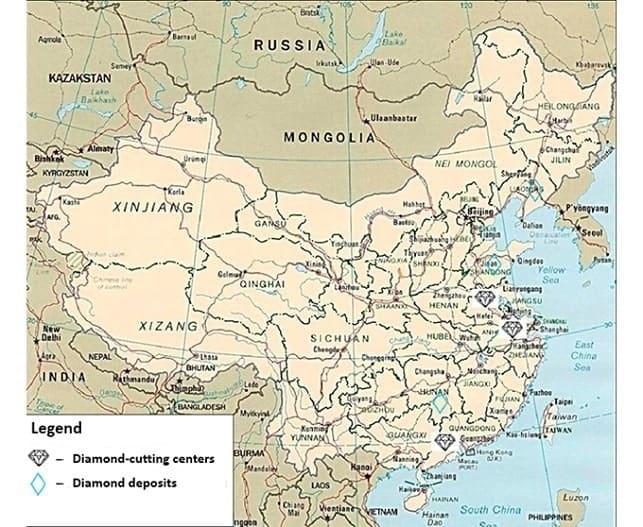 מפת סין כריית יהלומים