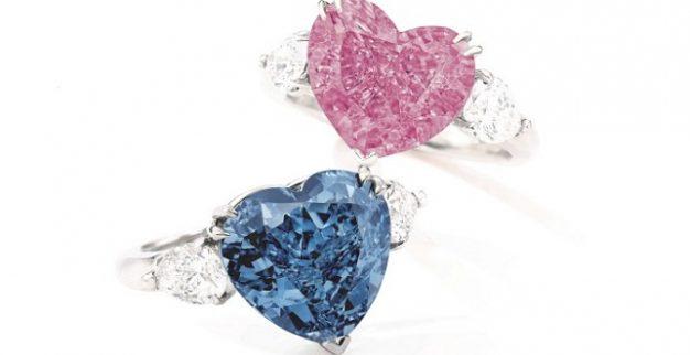 טבעות יהלומים צבעוניים לב